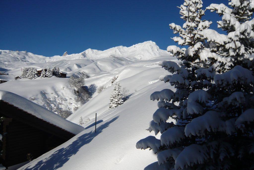 Aussicht Winter Ferienwohnung Severina Arosa