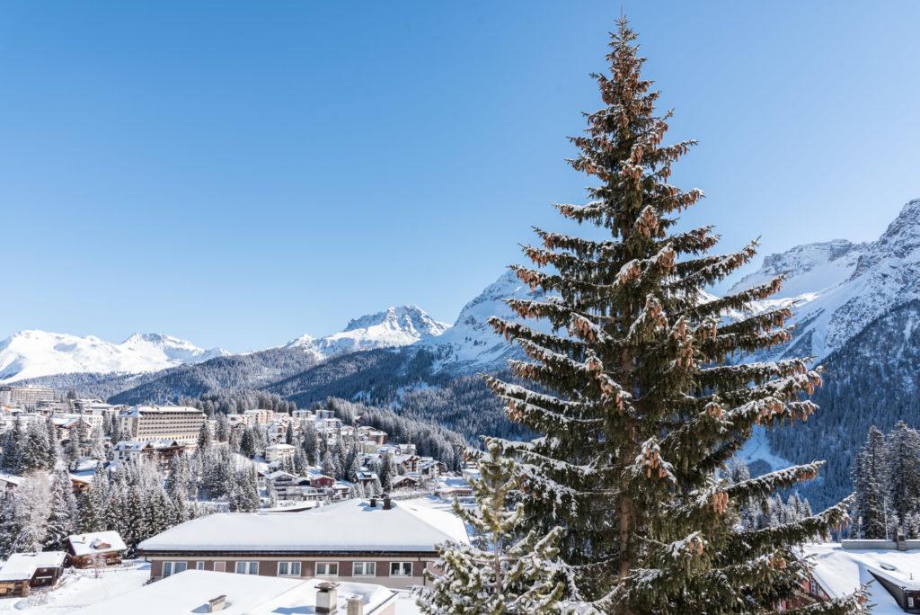 Aussicht Ferienwohnung Viktoria Winter Arosa