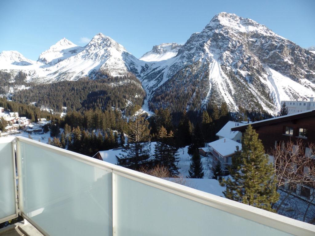 Aussicht Balkon Ferienwohnung Viktoria Arosa