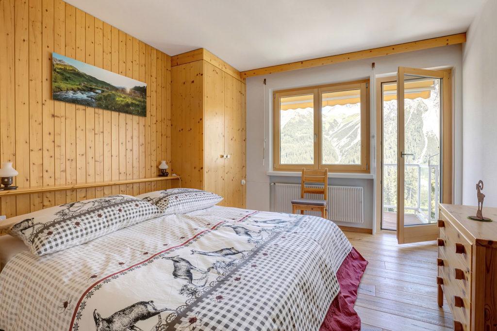 Schlafzimmer Ferienwohnung Arosa