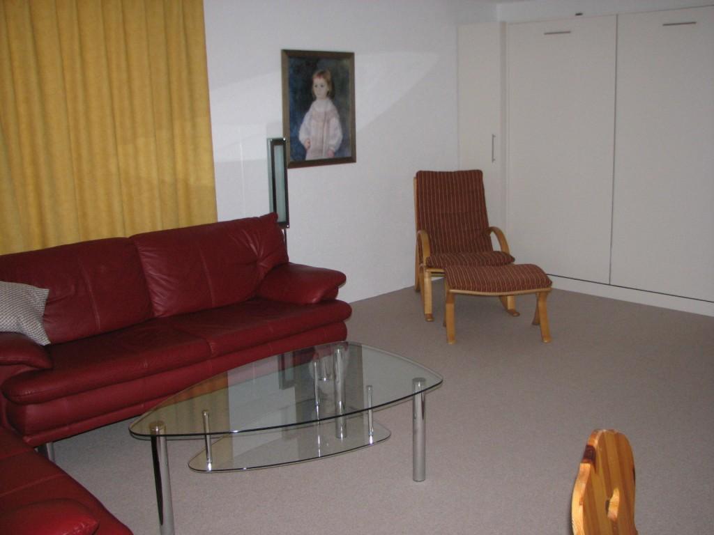 Wohnzimmer Ferienwohnung Arosa Rothornblick